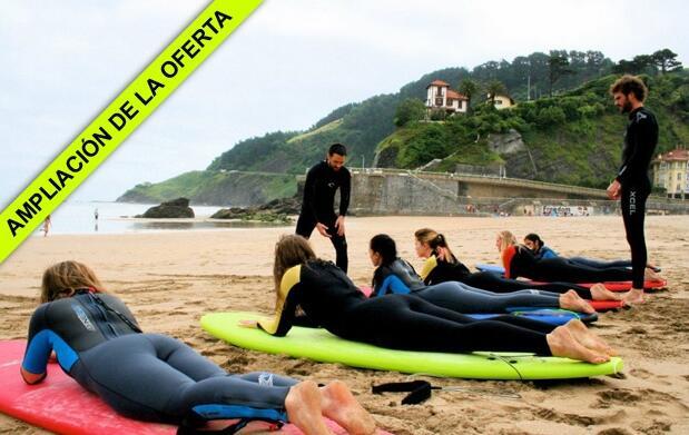 Clase de surf, comida y circuito termal