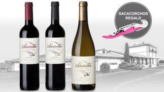 Pack de 3 vinos Santalba, crianza, reserva y blanco + Sacacorchos