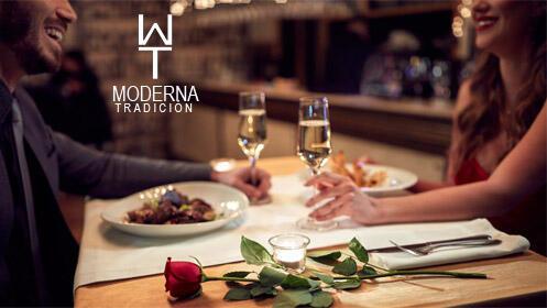 Cena romántica de San Valentín en Moderna Tradición