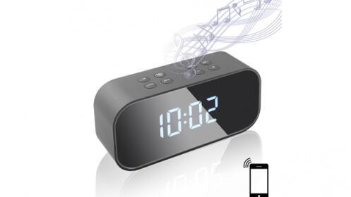 Despertador efecto espejo con altavoz Bluetooth