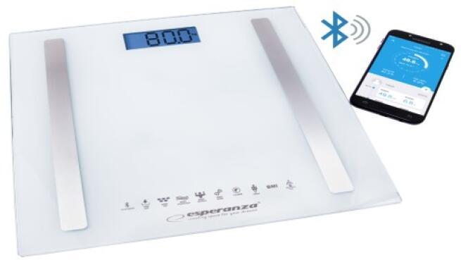 Báscula bluetooth de baño con índice de masa corporal