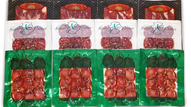 12 sobres de productos Ibéricos de bellota de Extremadura