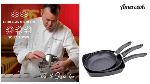 Set 2 sartenes + grill antiadherente con acabado en piedra AMERCOOK Onyx