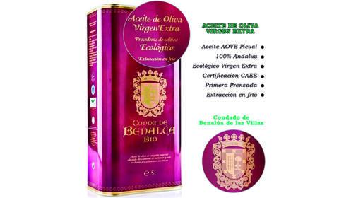 Lata de 5 litros de aceite ecológico Oliva Virgen Extra Conde de Benalúa Bio